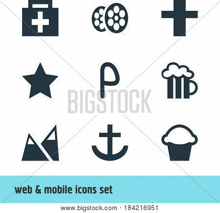 Vector Illustration Of 9 Check-In Icons. Editable Pack Of Film, Cross, Anchor And Other Elements.