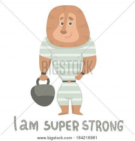 Cute lion strongman holds a weight cartoon hand drawn vector illustration. Cartoon Lion character isolated. Can be used for baby fashion print design kids wear poster greeting and invitation card.