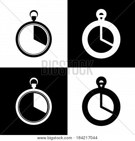 The 20 seconds, minutes stopwatch sign. Vector. Black and white icons and line icon on chess board.