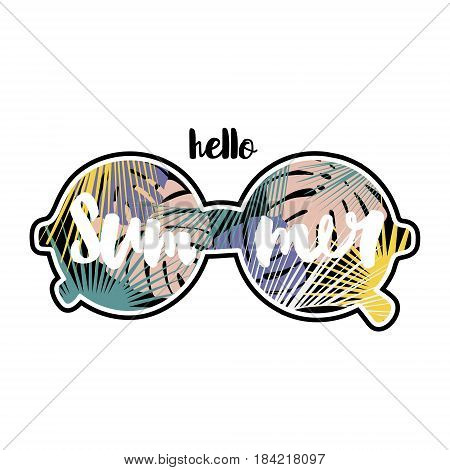 Hello summer text. Hand lettering inside sunglasses with tropical leaves. Vector summer background