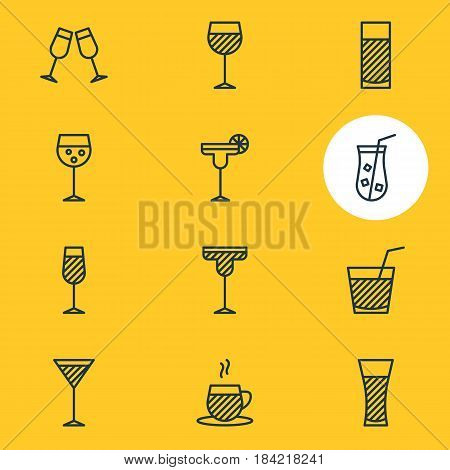 Vector Illustration Of 12 Drinks Icons. Editable Pack Of Drink, Tea Cup, Aqua And Other Elements.