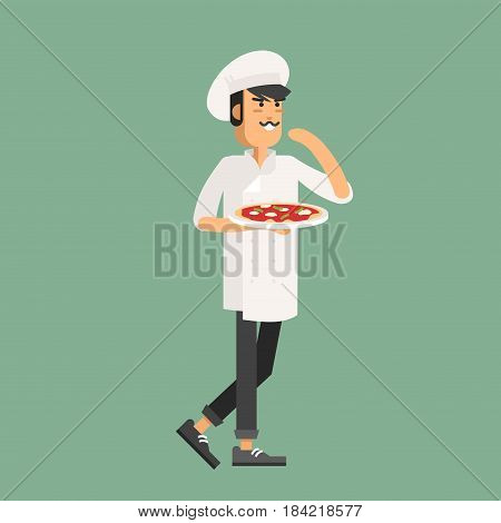 Cook chef in work clothes preparing and holding a pizza. Vector illustration male character cook