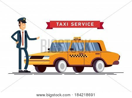 Vector illustration taxi driver in uniform with yellow car. Commercial transport contemporary modern yellow taxi cab.