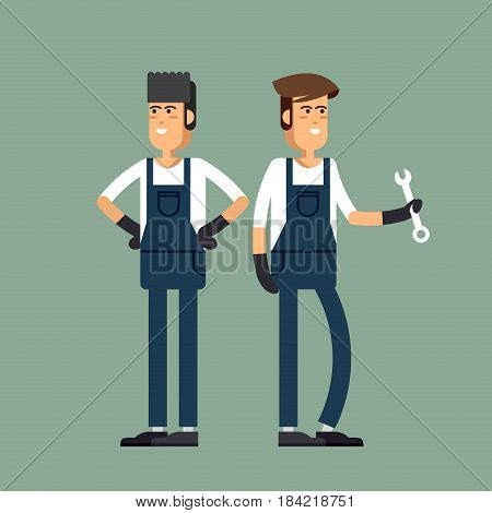 Cool vector illustration friendly smiling mechanics professional holding wrench and standing in different poses. Auto service workers and car technical maintenance.
