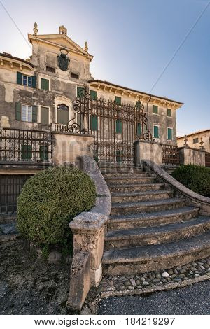 Custoza Italy - March 11 2017: Villa Pignatti-Morano is a three-story seventeenth century villa with a particular staircase on the west side.