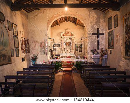 San Bonifacio Italy - March 11 2017: Interior of the votive church of Saint Mary of the Alzana famous for the many unexplained healings.