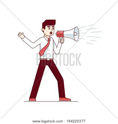Businessman shouting through megaphone. Man wearing shirt with a megaphone. Inspiring leadership presentation speech. Modern flat style thin line vector illustration isolated on white background