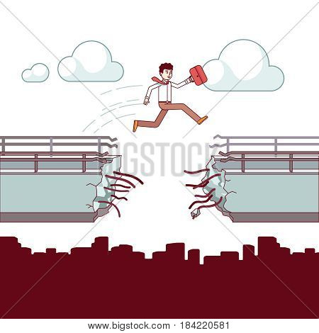 Businessman with case jumping over the broken bridge. Business metaphor of overcoming fears and obstacles. Leaping over a gap cliff. Modern flat style thin line vector illustration isolated on white.