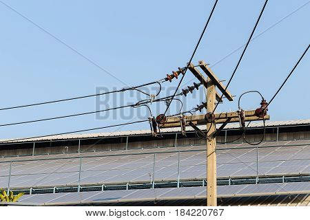 Solar panels on rooftop and electric pole with blue sky