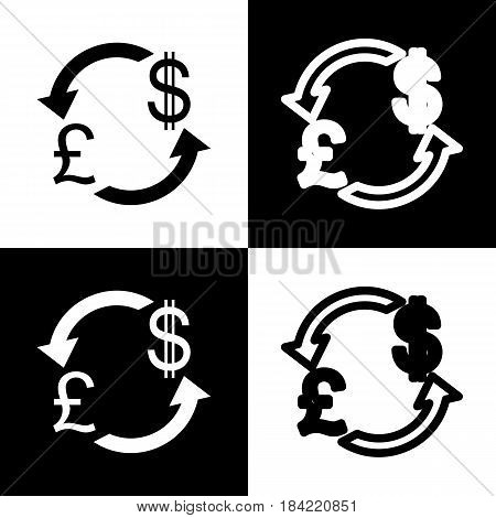 Currency exchange sign. UK: Pound and US Dollar. Vector. Black and white icons and line icon on chess board.