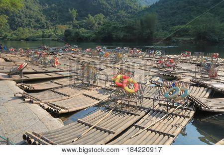 Bamboo rafting station on Yulong river in Yangshou China
