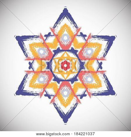 Painted star vector. Six-angle shape from colorful brush strokes. Abstract geometric pattern. Intricate circle ornament for logo, emblem. Unusual mandala background. Blue yellow grunge illustration.