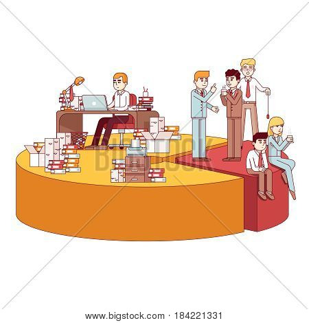 Businesspeople working hard, taking a break on a giant pie chart. Metaphor of workaholic, lazy employees, effective time management. Modern flat style thin line vector illustration isolated on white.