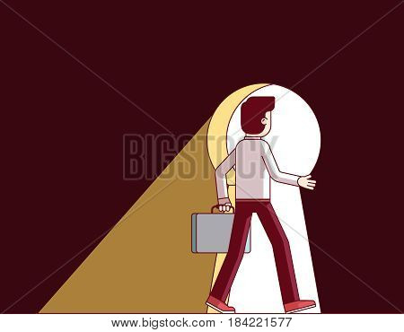 Businessman walking through the giant keyhole. Business metaphor of key person, creativity, innovative problem solution. Modern flat style thin line vector illustration isolated on white background.