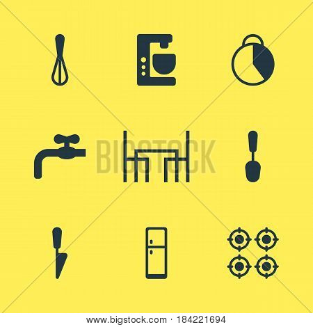 Vector Illustration Of 9 Cooking Icons. Editable Pack Of Dinner Table, Corolla, Timekeeper And Other Elements.