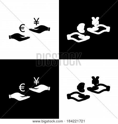 Currency exchange from hand to hand. Euro and Yen. Vector. Black and white icons and line icon on chess board.