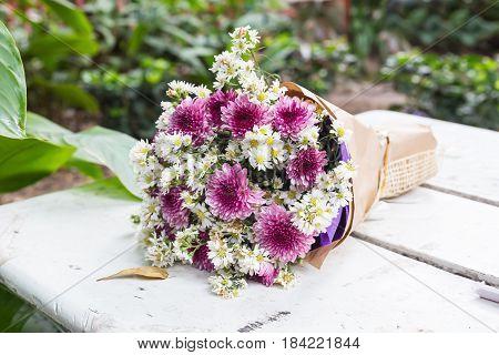 Bunch Flowers Gift On White Floor