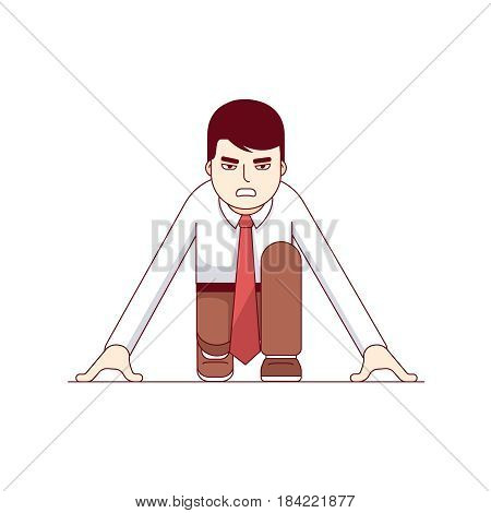 Focused businessman in starting position beginning a sprint race. Business metaphor of start up entrepreneurship. Modern flat style thin line vector illustration isolated on white background.