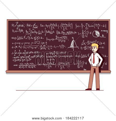 Young university professor standing in front of chalkboard filled with formulas giving lecture on mathematics. Modern flat style thin line vector illustration isolated on white background.