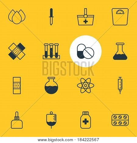 Vector Illustration Of 16 Health Icons. Editable Pack Of Vial, Antibiotic, Vaccinator And Other Elements.