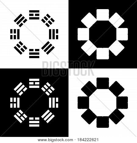 Bagua sign. Vector. Black and white icons and line icon on chess board.