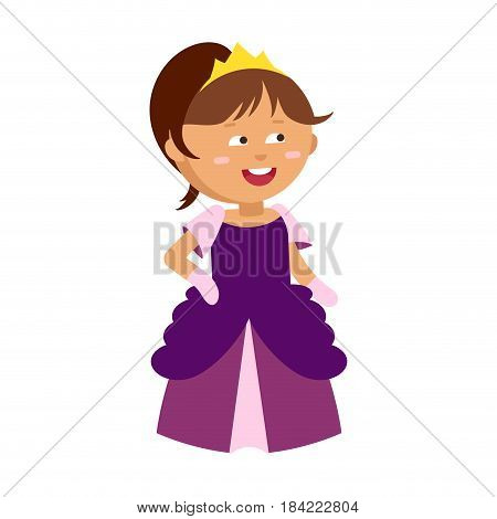Princesses vector cute beautiful characters. Adorable elegance style little fairy brown hair girl. Old time fashion cartoon costume, crowns and magic fantasy