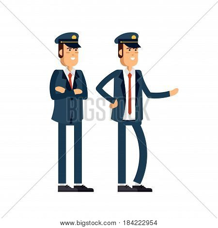Vector modern illustration man in dark blue uniform and cap standing in different poses. Male haracters isolated on white background.