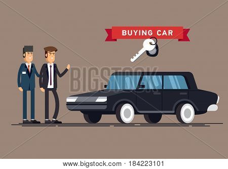Design concept of choice car and buying. Vector cool illustration in flat style. Vector detailed character buyer and seller