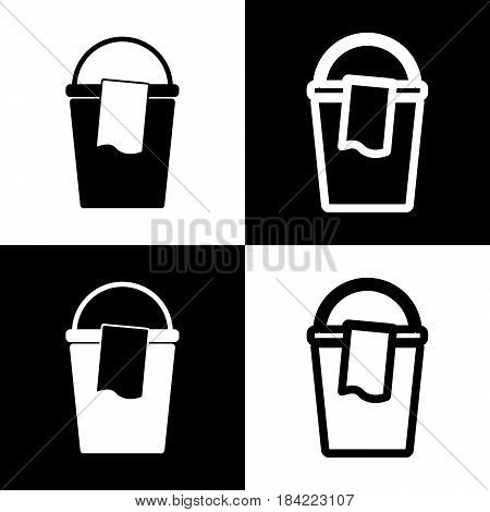 Bucket and a rag sign. Vector. Black and white icons and line icon on chess board.