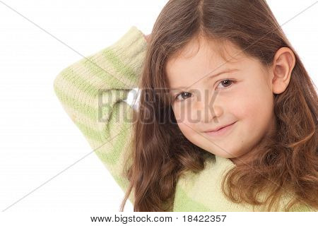 Young Girl smiling With Arm Behind Head