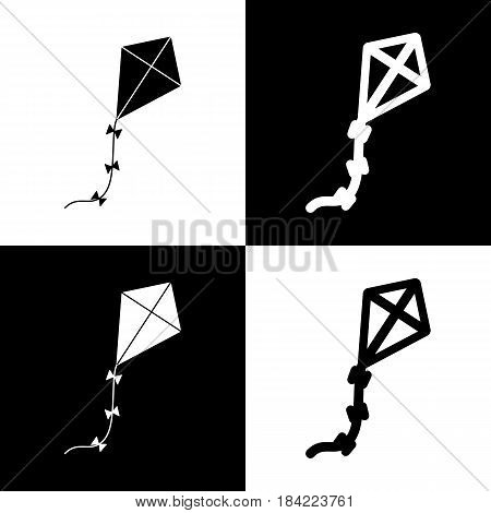 Kite sign. Vector. Black and white icons and line icon on chess board.