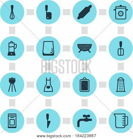 Vector Illustration Of 16 Kitchenware Icons. Editable Pack Of Bakery Roller, Slicer, Oven And Other Elements.