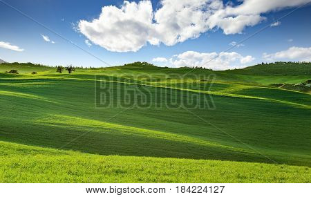 panoramic view of rolling hills in tuscany