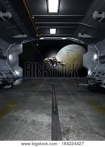 Science fiction illustration of a spaceship taking off from inside a space station towards an alien planet, digital illustration (3d rendering)