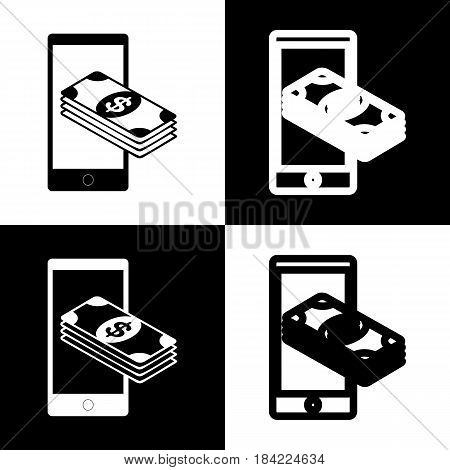 Payment, refill your mobile smart phone, . Vector. Black and white icons and line icon on chess board.