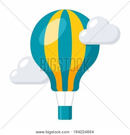 Aeronautics concept with balloon and clouds, vector illustration in flat style
