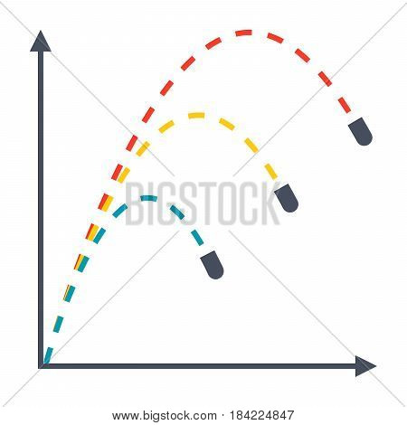 Ballistics concept with trajectories of three projectiles, vector illustration in flat style