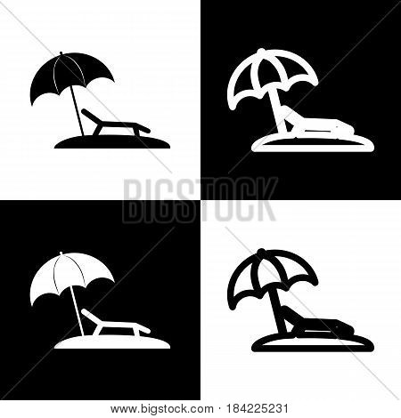 Tropical resort beach. Sunbed Chair sign. Vector. Black and white icons and line icon on chess board.
