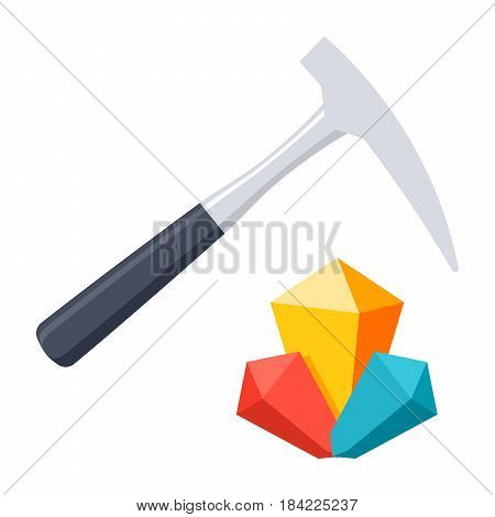 Geology concept with hammer and minerals, vector illustration in flat style