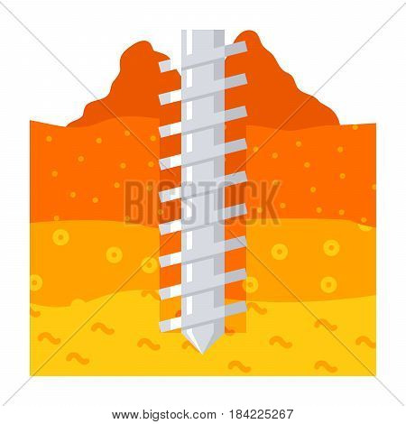 Geomechanics concept with earth auger drill and soil, vector illustration in flat style