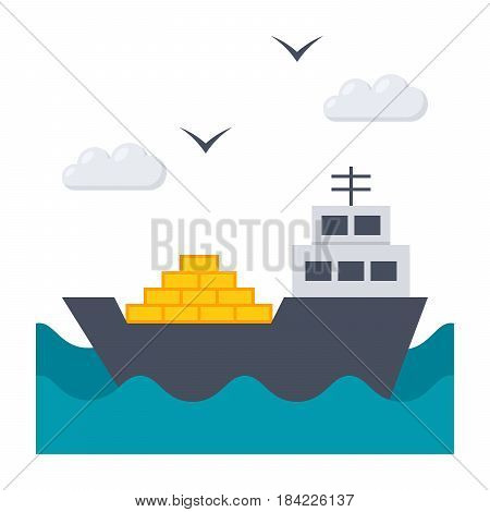 Shipbuilding concept with ship at sea, vector illustration in flat style