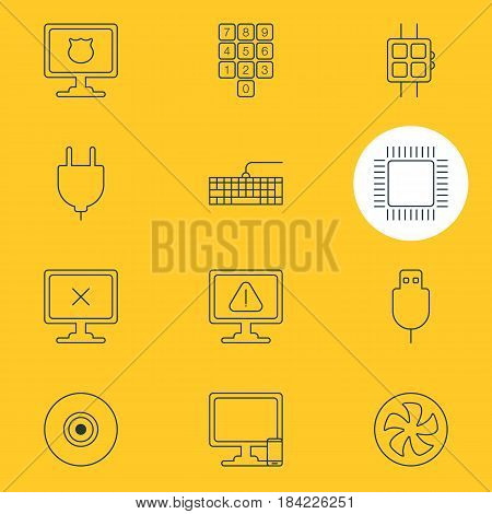 Vector Illustration Of 12 Laptop Icons. Editable Pack Of Microprocessor, Phone Near Computer, Serial Bus And Other Elements.