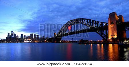 Harbour Bridge and city view in the evening