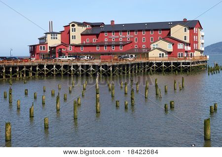 Old cannery hotel primary accommodation Astoria Oregon. poster