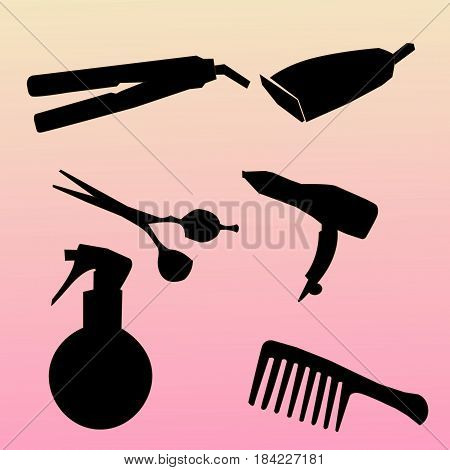 Modern icons set silhouettes of hairdressing tools. Symbol collection of hairdressing tools isolated on white background. Modern flat pictogram set.