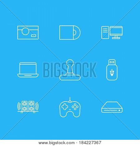 Vector Illustration Of 9 Gadget Icons. Editable Pack Of Joypad, Photography, Memory Storage And Other Elements.