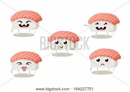 Set of funny sushi characters with cute faces and different emotions.Asian food vector illustration isolated on white background. Sushi restaurant menu.