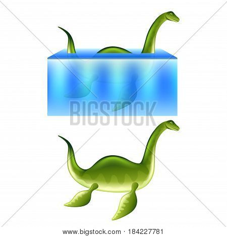 Nessie Loch Ness monster isolated on white photo-realistic vector illustration