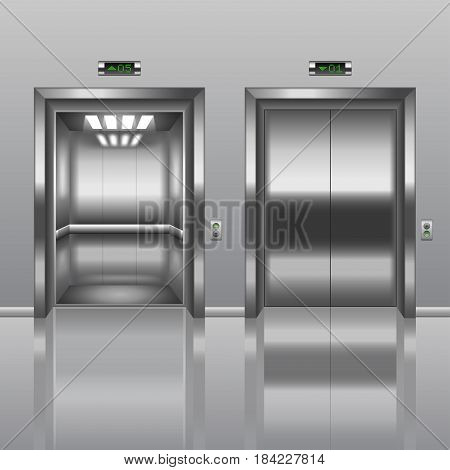 Open and closed elevator photo-realistic vector illustration