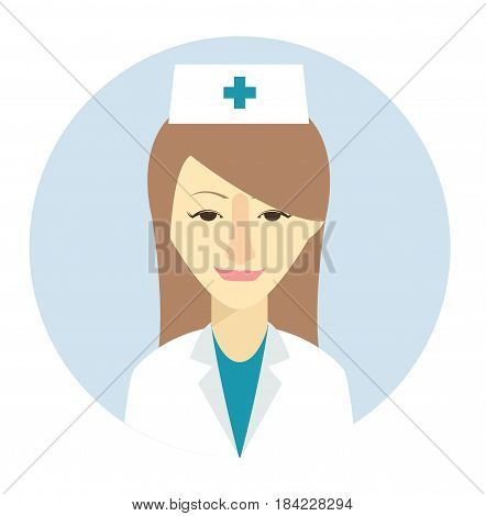 Female nurse avatar icon in flat style. Female user icon. Cartoon woman avatar. Nurse woman avatar. Vector stock.